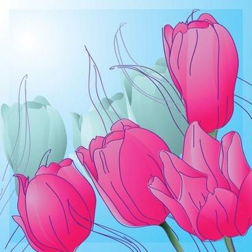 1 handpainted tulips vector