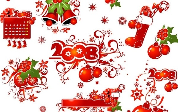 2008 CHRISTMAS DECORATION ELEMENTS AND PATTERNS VECTOR MATERIAL