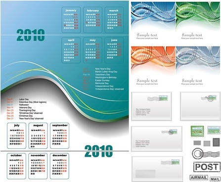 2010 calendar lines and email vector
