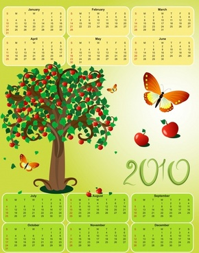 calendar template apple tree butterflies decor colorful design