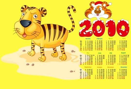 2010 calendar with cute tiger vector