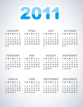 2011 calendar template modern bright simple design