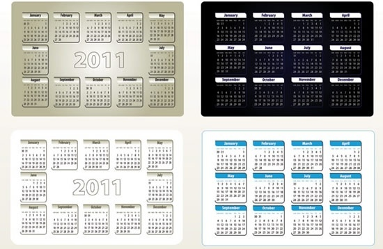 2011 calendar templates simple modern dark bright decor