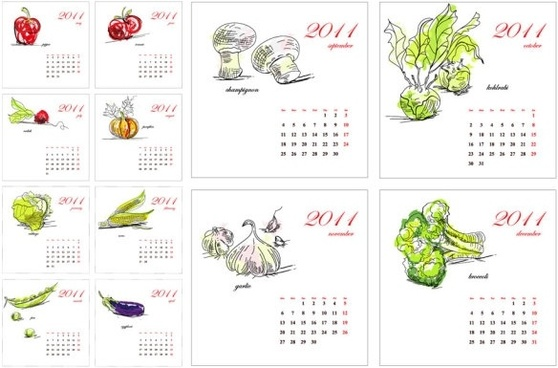 2011 calendar of vegetables vector hand