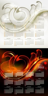 2011 calendar template 01 vector