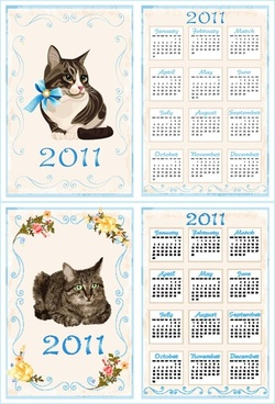 2011 calendar template 02 vector