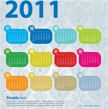 2011 calendar template colorful simple flat classical pattern