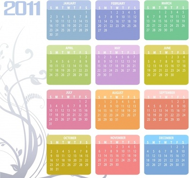 2011 calendar template bright colorful squares sections decor