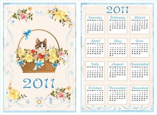 2011 calendar template cute kitty floral basket decor