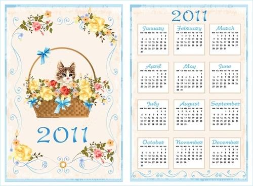 2011 calendar template vector