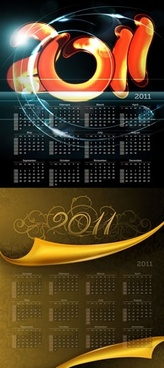 2011 calendar template sparkling light motion elegant classic