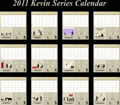 2011 calendar templates modern art human activities silhouettes