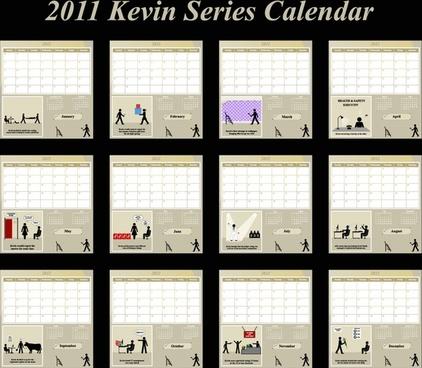 2011 calendar templates modern art human activities silhouettes
