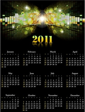 2011 calendar template shiny twinkling lights 3d reflection