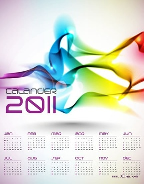 2011 calendar template modern colorful dynamic decor