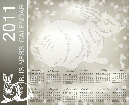 2011 calendar template rabbit icon grey bokeh decor