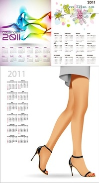 2011 calendar templates abstract nature fashion themes