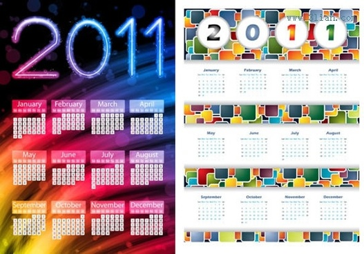2011 calendar templates modern colorful abstract decor