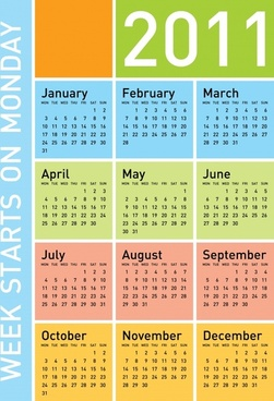 2011 calendar template bright colored modern plain sketch