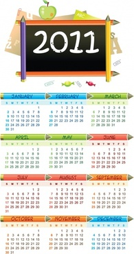 2011 calendar template education symbols decor