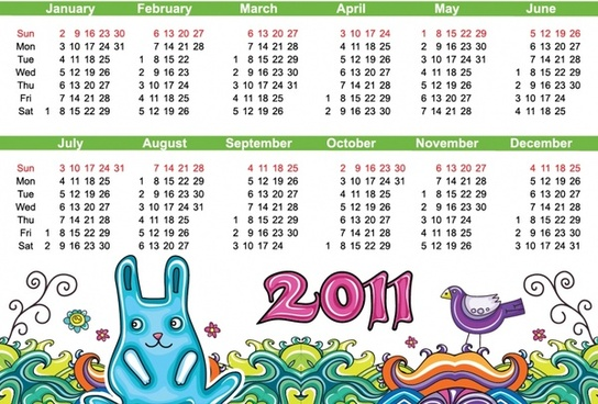 2011 calendar template nature theme colorful handdrawn sketch
