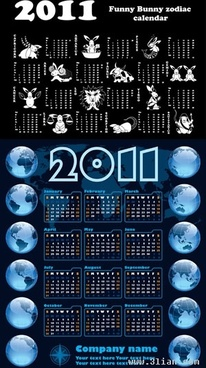 2011 calendar template animals globes decor dark design