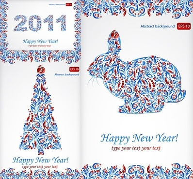 2011 new year banners rabbit fir tree sketch