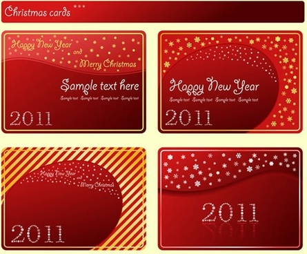 christmas card templates elegant red design snowflakes decor