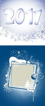 2011 new year banner bright snowfall decor