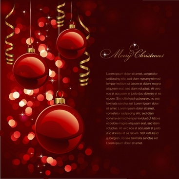 christmas banner shiny baubles dark red bokeh decor