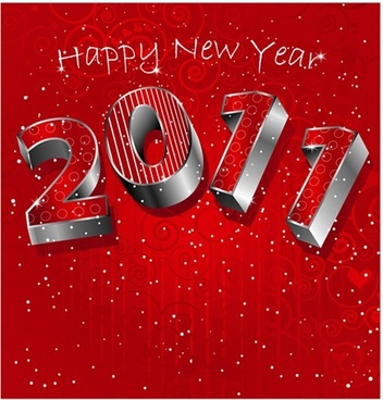 2011 new year banner elegant red 3d digits