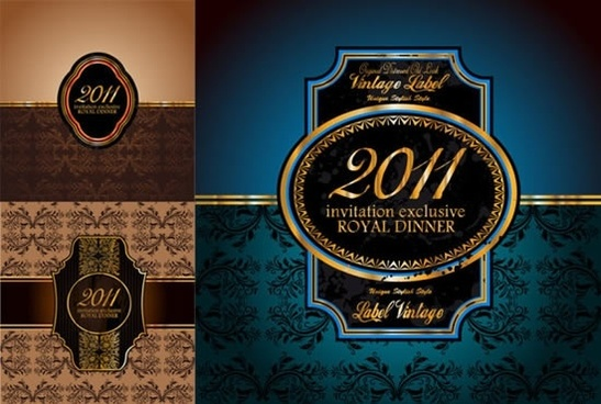 invitation card template elegant luxury retro sketch