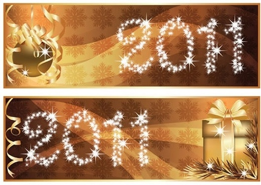 2011 xmas banner templates twinkling lights golden baubles