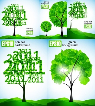 2011 fresh trees vector