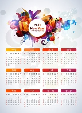 2011 new year calendar vector