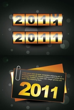 2011 new year banners elegant golden black figures