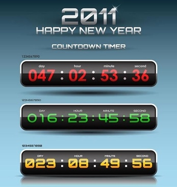 2011 new year banner shiny countdown timer icons