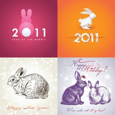 new year templates classical blurred origami rabbit sketch