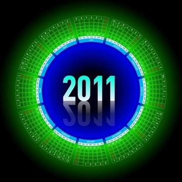2011 calendar template sparkling reflection green circle layout
