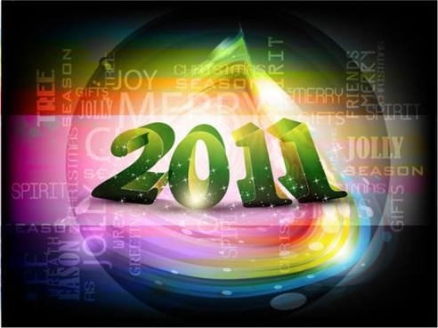 2011 new year background modern sparkling colorful lights
