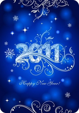 2011 new year banner bokeh blue curves decor