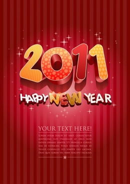 2011 new year banner sparkling 3d digits decor