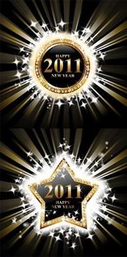 2011 new year background sparkling stars gems decor