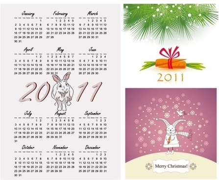 2011 year of the rabbit vector illustration calendar