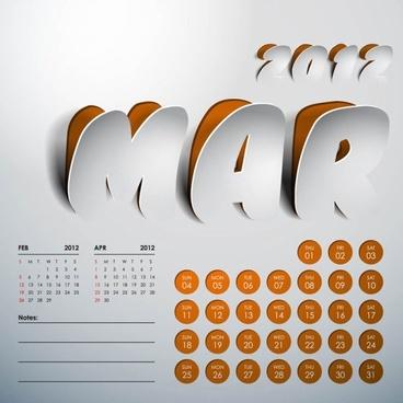 2012 art calendar 13 vector
