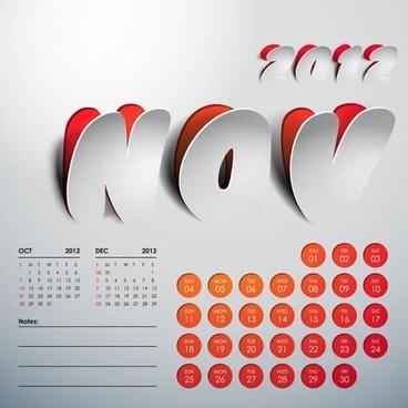 2012 art calendar creative vector