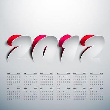 2012 art calendar vector