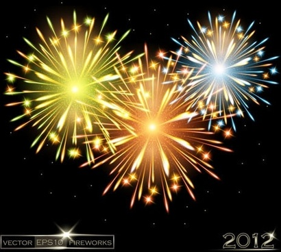 2012 bright fireworks background 02 vector