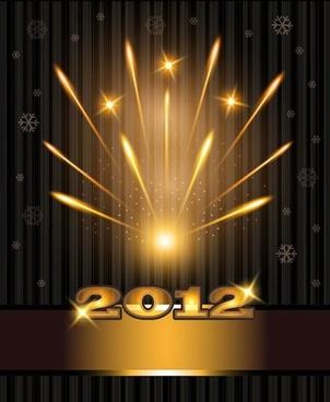 2012 bright fireworks background vector