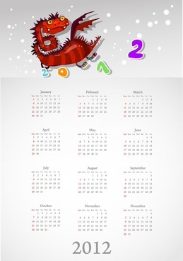 2012 calendar calendar calendar cartoon dragon vector